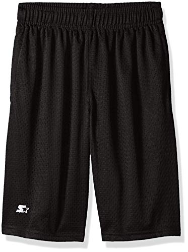 Starter Boys' Mesh Short with White Logo, Black, S (6/7)