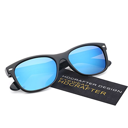 HDCRAFTER Classic Unisex Polarized Mirror Lens Wayfarer Sunglasses - Mirrored Sunglasses Wayfarer Cheap