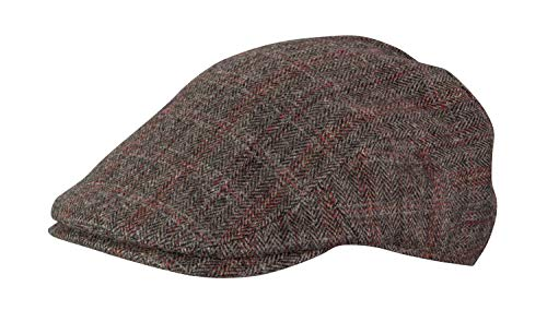(Broner Mens Aberdeen Wool Blend Plaid Ivy Cap with Red Satin Tie Lining, Brown Plaid, Large)