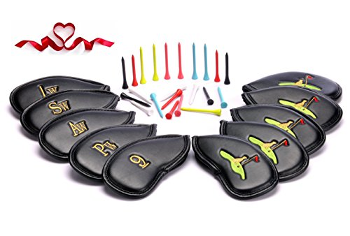 Golf Club Headcovers 30 Golf Tees Seasonal Promotion Set of 10 PU Leather Golf Iron Club Covers Stylish 3D Embroidery Suitable for Right and Left Handed Ladies' and Gentlemen's Clubs