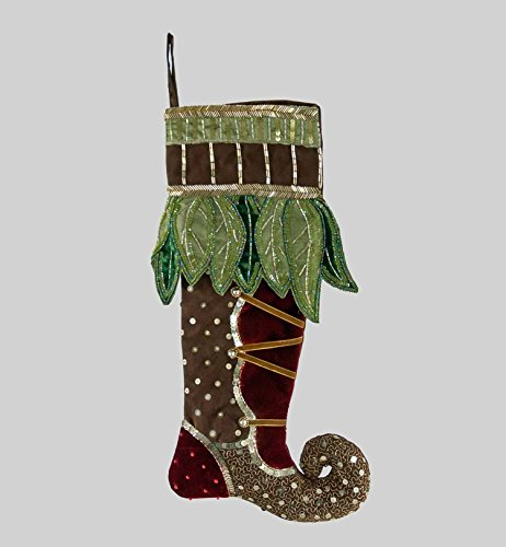 "Katherine's Collection Christmas stocking Woodland brown & green 20"" - Katherines Collection Christmas Stocking"