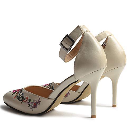 donna Beige tacco alto Colore 38 con Beige con Fuxitoggo ricamo da Scarpe Dimensione floreale EU SUAff