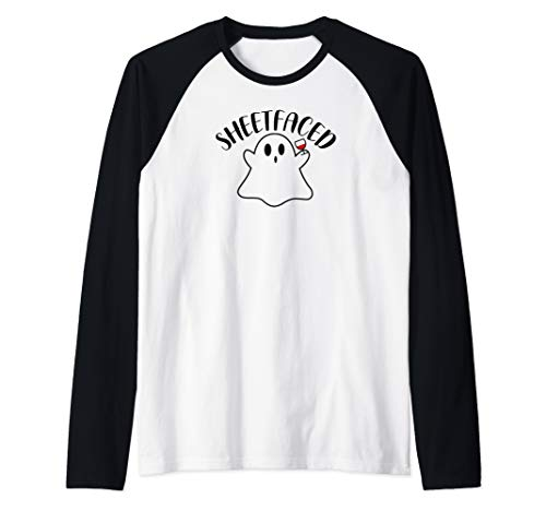 Wine Wino Sheetfaced Ghost Shitfaced Halloween Costume Party Raglan Baseball