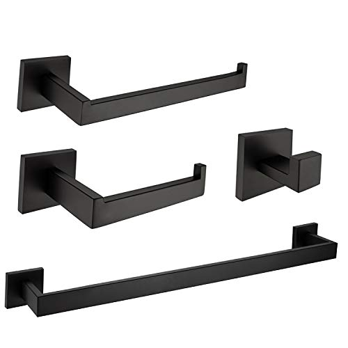 Nolimas Rustproof 4-Piece Black Bathroom Hardware Accessory Set Including Towel Bar Toilet Paper Holder Towel Holder Robe Hook SUS 304 Stainless Steel Wall Mount Contemporary Square Style, Matte Black (Paper Square Toilet Holder Set)