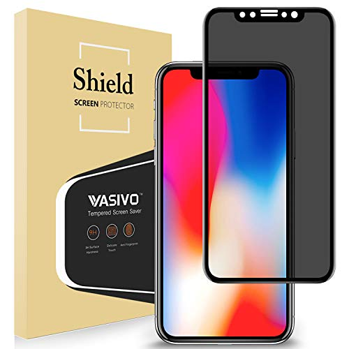 (Privacy Screen Protector Compatible for iPhone X iPhone Xs [4D Full Curved ] VASIVO 5.8 Inch Anti-Spy Anti-Peep Tempered Glass Film Screen Saver for iPhone X/XS - Black)