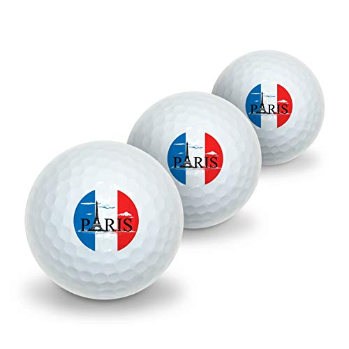 - GRAPHICS & MORE Paris France Eiffel Tower Flag Clouds Novelty Golf Balls 3 Pack