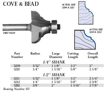 - Whiteside Router Bits 3210 Cove and Bead Bit with 1/4-Inch Radius, 1-5/16-Inch Large Diameter and 5/8-Inch Cutting Length