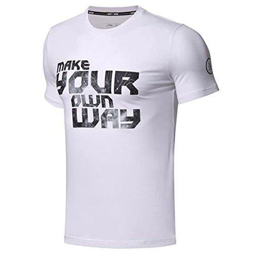 LI-NING Men Wade Moisture Wicking Summer T Shirt Regular Fit Cotton Spandex Breathable Athletic Tee White AHSN047 Size L
