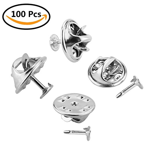 Tack Pin (100 Pairs Butterfly Clutch, CBTONE Silver Metal Pin Backs Tie Tacks Pin Back Replacement with Blank Pins for Craft Making, Badge Insignia, Citation Bars, Service Bars, Toy Pins and Jewelry Making)
