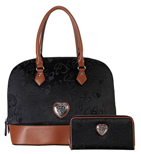 rimen-co-pu-leather-fabric-heart-print-pattern-shell-shape-tote-wallet-2-pieces-set-accented-with-me