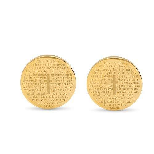 - Men's Stainless Steel Lord's Prayer Round Cufflinks (Gold)