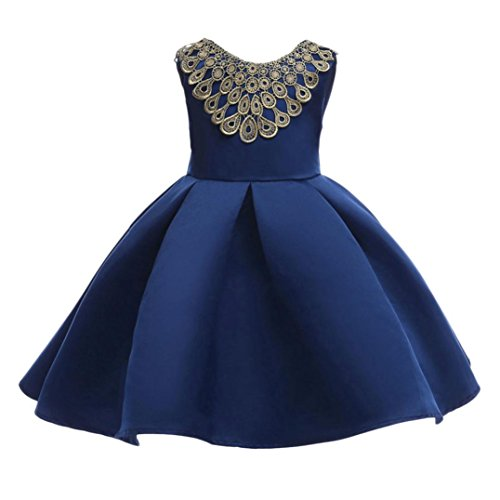 Leegor Girls Princess Dress Party Flanger Wedding Bridesmaid Formal Pleated Dresses (Dark Blue, 5T) by Leegor