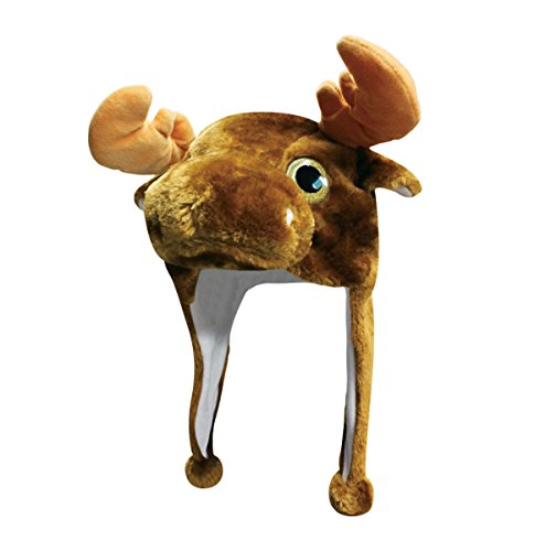Male Moose Costume (Moose Critter Cap Plush Animal Hat with Ear Flaps That Button Under the Chin)