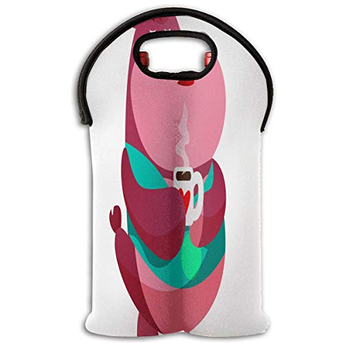 Red Wine Sets Bear Cartoon Holding A Cup Of Coffee Red Wine Tote Bag Insulated Padded 2 Bottle Champagne Travel Bag -
