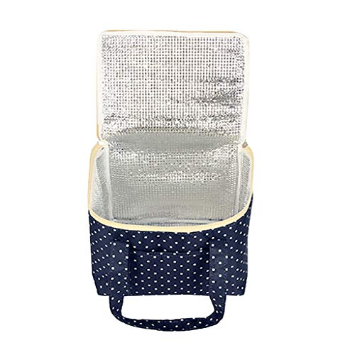Lunch Food Bags, Amiley Medium Thermal Insulated Lunch Tote Cooler Bag | Wide Open Lunch Bag with Zipper and Durable Handle Tote for School Picnic Camping, Lunch Holder Organizer Dot Printed (Navy)