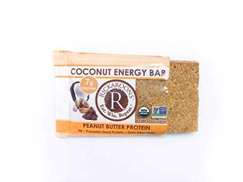 Rickaroons Coconut Energy Bars Peanut Butter Protein – Vegan, Gluten Free, Certified Organic, Paleo, 1.6 Ounce 12 Count