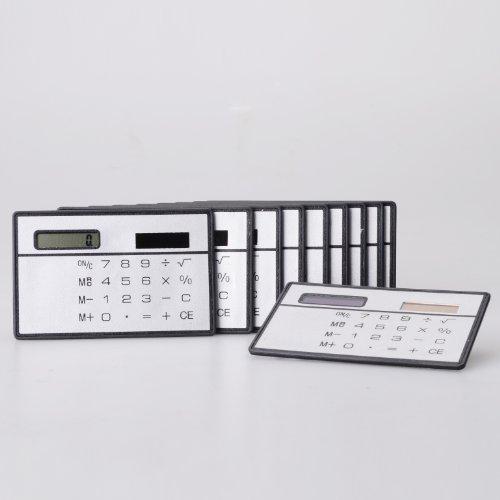 Mini Slim Credit Card Solar Power Pocket Calculator - Random Color by Meco