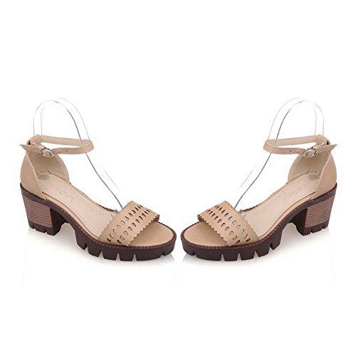 AllhqFashion Mujeres Puntera Abierta Hebilla Sólido Tacón ancho Sandalias de vestir Albaricoque