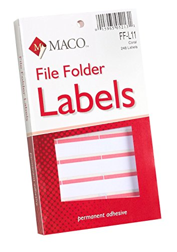 MACO Coral File Folder Labels, 9/16 x 3-7/16 Inches, 248 Per Box (FF-L11)