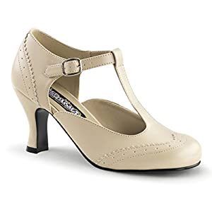 Womens 3 Inch Low Heels Pumps with T-Strap Detail Cream Office Shoes Size: 7