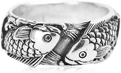 Beydodo 925 Silber Ring Männer Punk Rock Fische 9 MM Freundschaftsringe Silber Ring Herren