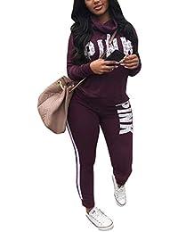 Women Letter Print Two Piece Sweatsuit Cowl Neck Sweatshirt and Skinny Long Pants