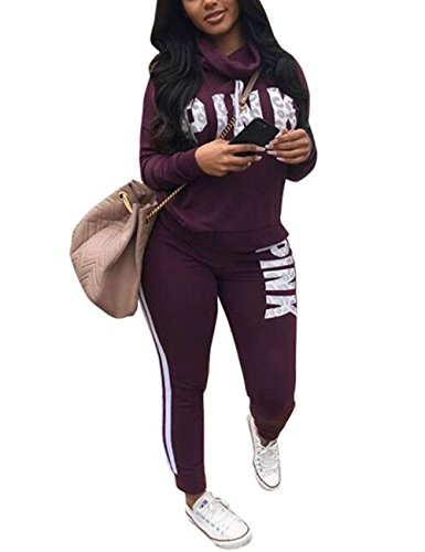 Akmipoem Women Letter Print Two Piece Sweatsuit Cowl Neck Sweatshirt and Skinny...