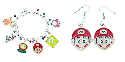 Mario 2-Pack Bracelet & Earrings in Gift Box by - Earrings Super Mario