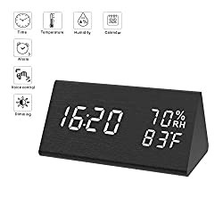 Digital Alarm Clock for Bedrooms, Micarsky Wooden Led Digital Clock with 3 Alarms Setting, 3 Levels Brightness, Dual Power, Dual Time (12/24) Mode, Voice Control, Temperature and Humidity Displaying