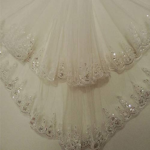 Short 1.5 Meters Long Lace Appliques Elegant Tulle Two-Layer Wedding Bridal Veil Long Wedding Veil With Comb Ivory 150cm ()