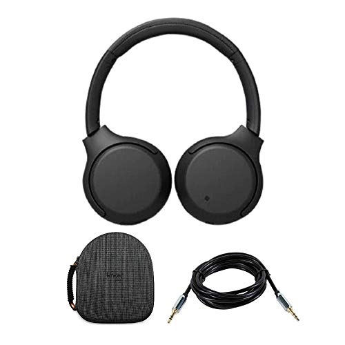 Sony WHXB700 Wireless Extra Bass Headphones (Black) with Hardshell Headphone case and 10ft 3.5mm aux Cable Bundle ()