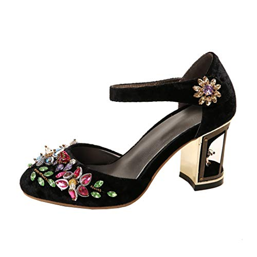 7 UK Heel 5CM Shoes Women 2 Vaneel Block on Slip Round vadxrt Court Toe Black 5 qSp0a4w