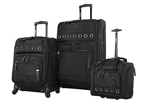 Steve Madden Luggage 3 Piece Softside Spinner Suitcase Set Collection (B-Social Black) by Steve Madden Luggage