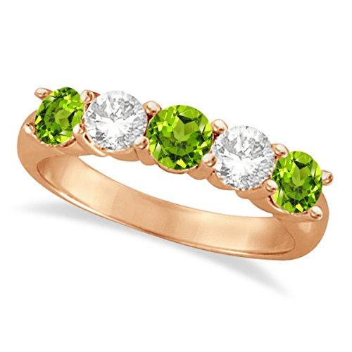 - Diamond and Peridot Five Stone Ring Anniversary Band For Women 14k Rose Gold (1.92ctw)