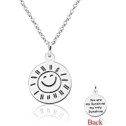 Three Keys Jewelry Stainless Steel Silver Tone Engraved Inspirational You Are My Sunshine Front and Smile Face Back Pendant Necklace 18' with 5cm Extension Chain PD-001