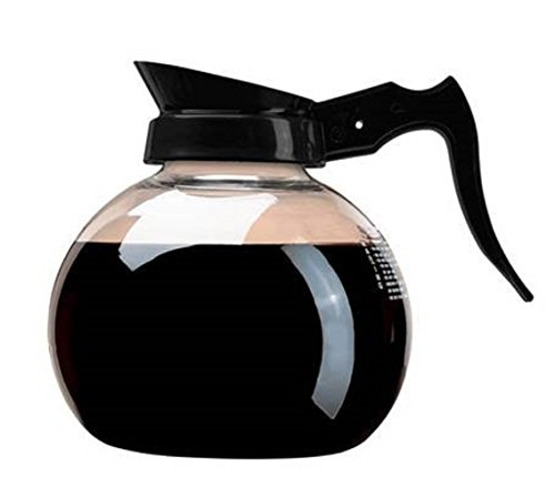 (Wilbur Curtis Commercial Coffee Decanter - Impact Resistant - Black Handle & White Imprint Logo - 64 Ounce Regular Coffee Decanter -)