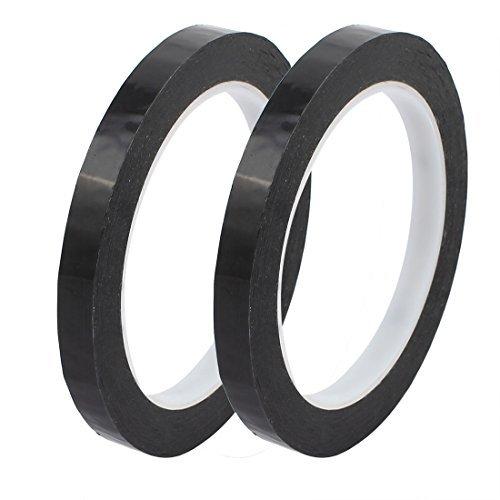 eDealMax 2pcs 10mm x 66M reflectante de seguridad Precaución amonestadora de la etiqueta adhesiva de la Cinta Negro