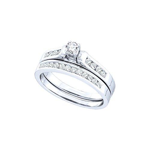 14kt White Gold Womens Round Diamond Bridal Wedding Engagement Ring Band Set 1/2 Cttw by JawaFashion