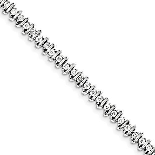 ICE CARATS 925 Sterling Silver Diamond Tennis Bracelet 7 Inch Add-a- by ICE CARATS
