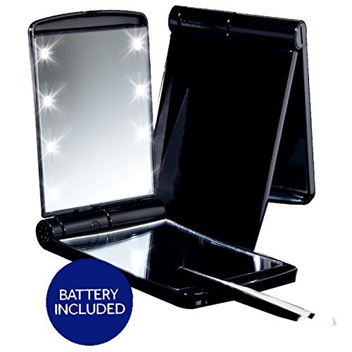 * Sale * Deluxe LED Compact Makeup Mirror Black True Mirror and 5x Magnification Includes Battery and Tweezers Perfect for Travel and Purses Folds Back for Vanity Style