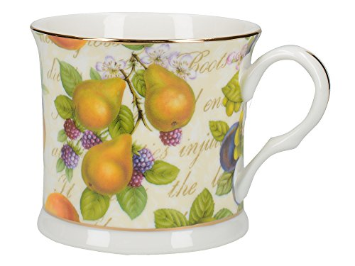 Footed Bone Cup China - ROYAL HARVEST Fine Bone China FOOTED PALACE MUG with Gold Rim BY CREATIVE TOPS