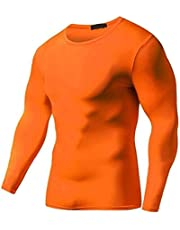 BEESCLOVER Summer Autumn Male Running T-Shirt Tights Long Sleeve Tops & Tees Men Compression Shirt Fitness Quick Drying Sports t Shirt Orange M