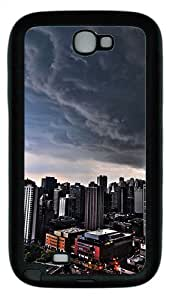 Samsung Galaxy Note II N7100 Case,Storm over city TPU Custom Samsung Galaxy Note II N7100 Case Cover Black