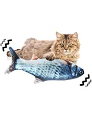 Bestmaple Moving Cat Kicker Fish Toy, Realistic Plush Simulation Electric Doll Fish USB Rechargeable, Funny Interactive Pets Chew Bite Supplies for Cat/Kitty/Kitten Fish Flop Cat Toy Catnip Toys (1)