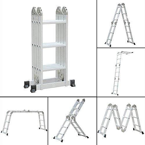 Homgrace Mehrzweckleiter 3,3M Alu Leiter Klappleiter Anlegeleiter 4x3 Sprossen Vielzweckleiter 12 Stufen Stehleiter Dachboden Loft Leiter belastbar bis 150kg