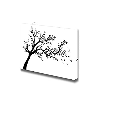 Canvas Prints Wall Art - Tree Silhouette Artistic Tree with Branch and Leaves in Black and White | Modern Wall Decor/Home Art Stretched Gallery Canvas Wrap Giclee Print & Ready to Hang - 24