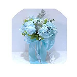 White Bridal Bouquets Peonies Blue Wedding Bouquet Wedding Flowers Bridal Bouquets Wedding Accessories Pink Bouquet De Mariage,Blue 23
