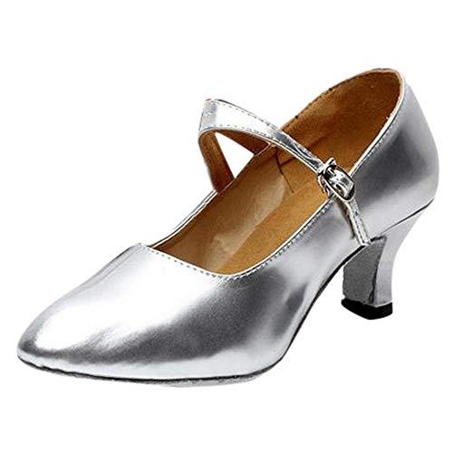 De Baile Cerrado En Pie El Fiesta Brillantes Dedo Logobeing Interior Tango Para Salón Plata Zapatos Mujeres Rumba Del q1HzwnR0