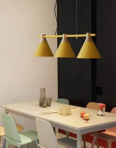 Belief Rebirth Iluminacion colgante moderna de la isla de la cocina de 3 luces con pantalla de cono - Lamparas colgantes de techo de metal + madera for comedores, cafeteria - Lampara de mesa de billar