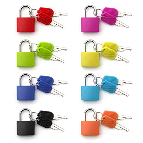 8 Pack Padlock, Small Padlock with Key for The Luggage Lock, Backpack,Gym Locker Lock,Suitcase Lock,Classroom Matching Game and More (8 Colors)
